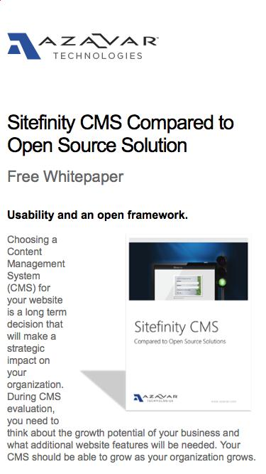 Sitefinity CMS Compared to Open Source Solution