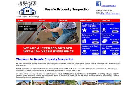 Screenshot of Home Page besafeinspections.com.au - Besafe Property Inspection - captured Oct. 5, 2014