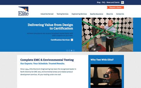 Screenshot of Site Map Page elitetest.com - Elite Electronic Engineering, Inc. - captured Oct. 2, 2014