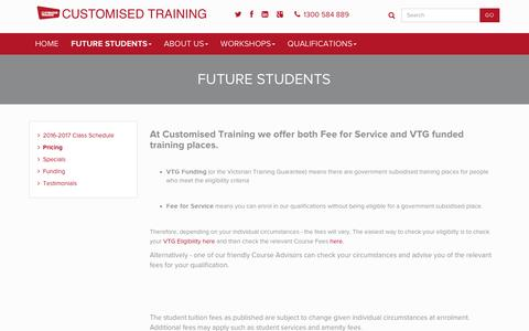 Screenshot of Pricing Page customisedtraining.edu.au - Pricing - Customised Training - captured Oct. 26, 2016