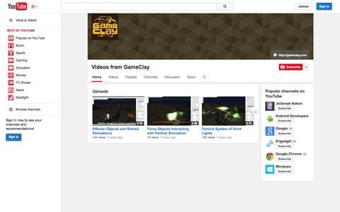 Screenshot of YouTube Page youtube.com - Videos from GameClay  - YouTube - captured Oct. 22, 2014