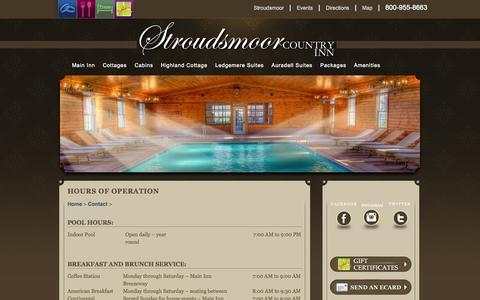 Screenshot of Hours Page stroudsmoor.com - Hours of Operation - Stroudsmoor Country Inn, Pocono Mountain Weddings / Pocono Mountains Resort / SCI, The Restaurant at Stroudsmoor Country Inn - captured Oct. 8, 2014