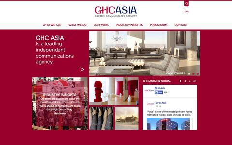 Screenshot of About Page Privacy Page Contact Page Press Page Jobs Page Team Page Testimonials Page ghcasia.com - Home | GHC Asia - captured Oct. 11, 2014
