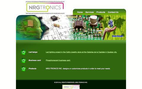 Screenshot of Products Page nrg-tronics.com - NRG-TRONICS INC. Products - captured Oct. 26, 2014