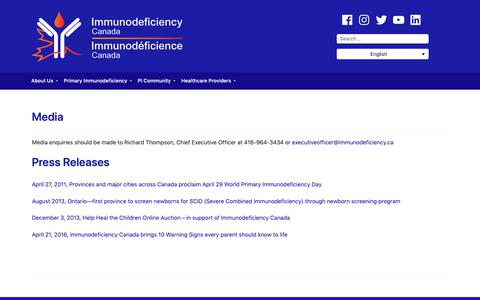 Screenshot of Press Page immunodeficiency.ca - Media – Immunodeficiency Canada - captured Oct. 11, 2018