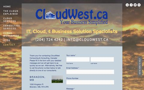 Screenshot of Contact Page cloudwest.ca - Contact — Cloud West Computing & Consulting Canada - captured Oct. 2, 2014