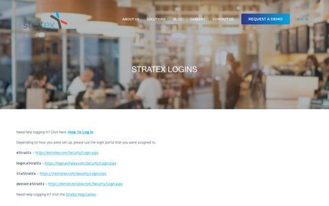 Screenshot of Login Page stratex.com - StratEx Logins — StratEx HR for Restaurants - captured April 14, 2018