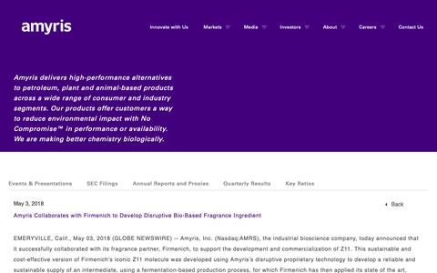 Screenshot of Press Page amyris.com - Amyris Collaborates with Firmenich to Develop Disruptive Bio-Based Fragrance Ingredient   Amyris - captured May 24, 2019