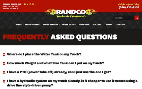 Screenshot of FAQ Page randcotanks.com - Water Truck Frequently Asked Questions - captured Oct. 24, 2017