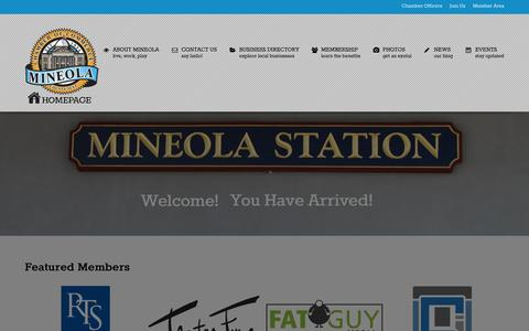 Screenshot of Home Page mineolachamber.com - Mineola Chamber of Commerce - captured Oct. 6, 2014