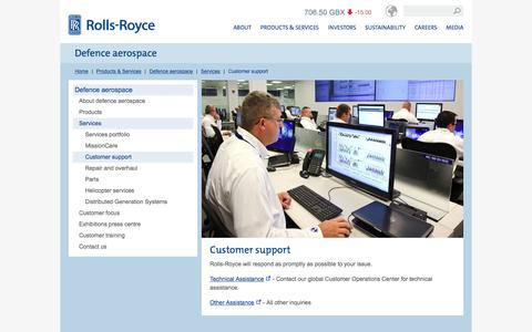 Screenshot of Support Page rolls-royce.com - Customer support – Rolls-Royce - captured March 9, 2016