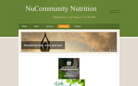Screenshot of Products Page nucommunity.com - Contact information for Nancy Taylor- Certified Integrative Dietitian, Registered Dietitian/Nutritionist, and Certified Health Coach  - NuCommunity Nutrition​ - captured Feb. 15, 2016