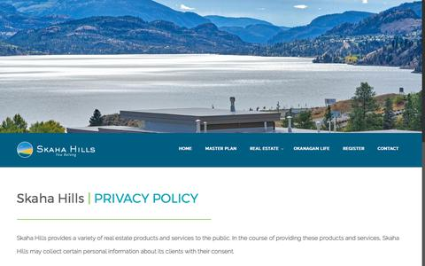 Screenshot of Privacy Page skahahills.com - Privacy Policy – Skaha Hills - captured Oct. 21, 2017