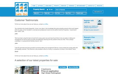 Screenshot of Testimonials Page letsgoproperty.co.uk - Testimonials - Lets Go Lettings - captured Oct. 2, 2014