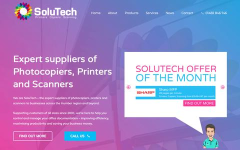 Screenshot of Home Page wearesolutech.co.uk - Photocopier Scanner Printer Leasing & Suppliers | Hull & Yorkshire | SoluTech - captured July 10, 2018