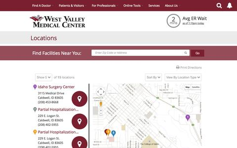 Screenshot of Maps & Directions Page westvalleymedctr.com - Locations - West Valley Medical Center   Caldwell, ID - captured Oct. 26, 2014