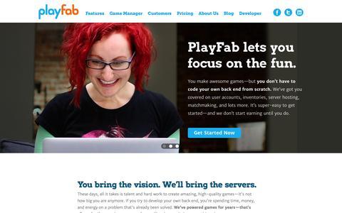 Screenshot of Home Page playfab.com - PlayFab - captured Sept. 23, 2014