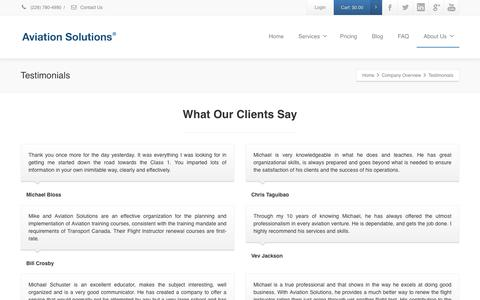 Screenshot of Testimonials Page aviationsolutions.net - Testimonials - Aviation Solutions - captured Dec. 27, 2015