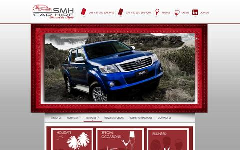 Screenshot of Services Page smhcarhire.co.za - Choose A Car Rental Package To Suites Your Travel Requirements – SMH Car Hire - captured Sept. 27, 2014