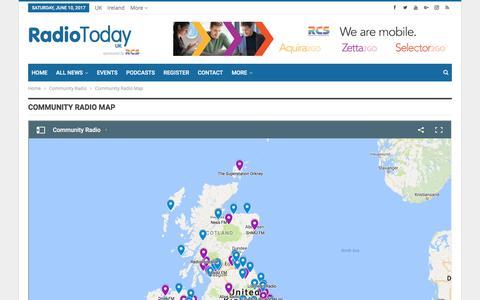 Screenshot of Maps & Directions Page radiotoday.co.uk - Community Radio Map – RadioToday - captured June 11, 2017