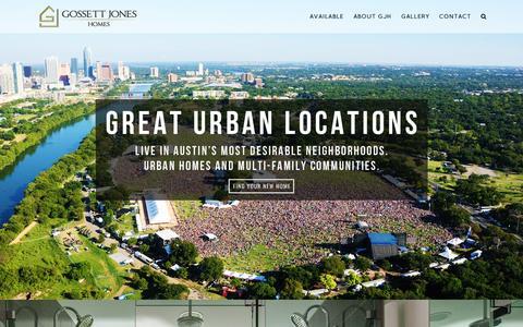 Screenshot of Home Page gjhlife.com - Gossett Jones Homes | Urban Austin Home Builders - captured Feb. 1, 2016