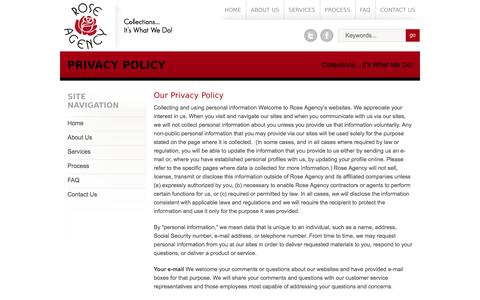 Screenshot of Privacy Page roseagencyinc.com - Privacy Policy | Rose Agency, Inc. - captured Sept. 30, 2014
