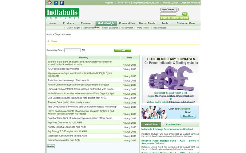 Indiabulls Securities - Corporate News