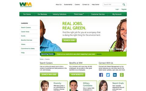 Screenshot of Jobs Page wm.com - Careers | Waste Management - captured Sept. 18, 2014