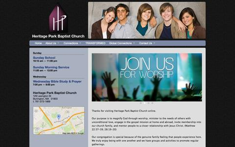 Screenshot of Home Page heritageparkbc.org - Heritage Park Baptist Church - Home - captured Oct. 2, 2014