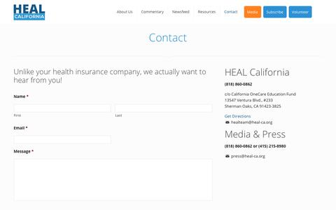 Screenshot of Contact Page heal-ca.org - Contact | Heal CA - captured July 10, 2018