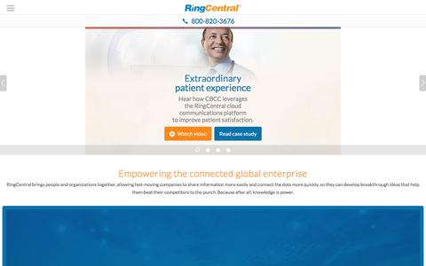 Screenshot of Landing Page ringcentral.com - Advanced Communications Solution for Global & Collaborative Enterprises - captured Feb. 8, 2017