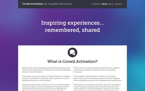 Screenshot of About Page crowdactivation.com - Crowd Activation - About - captured Sept. 30, 2014