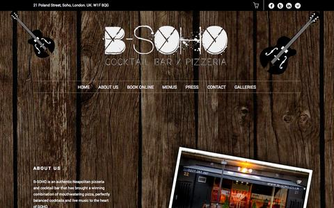Screenshot of About Page b-soho.co.uk - About Us | B-SOHO Cocktail Bar & Pizzeria - captured Oct. 2, 2014
