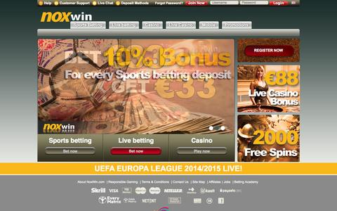 Screenshot of Home Page noxwin1.com - Online sports betting, latest netent casino games, live casino dealers - play now at Noxwin - captured Sept. 19, 2014