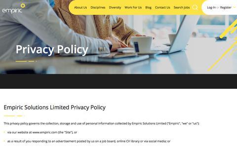 Screenshot of Privacy Page empiric.com - empiric recruitment agency - captured July 18, 2018