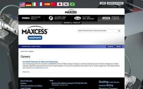 Screenshot of Jobs Page maxcessintl.com - Careers | Maxcess International - captured Sept. 19, 2014