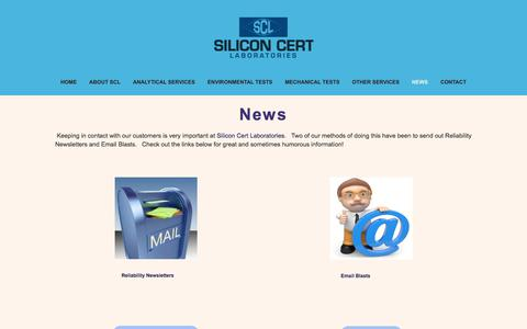 Screenshot of Press Page siliconcert.com - News — Silicon Cert Laboratories - captured Sept. 30, 2017
