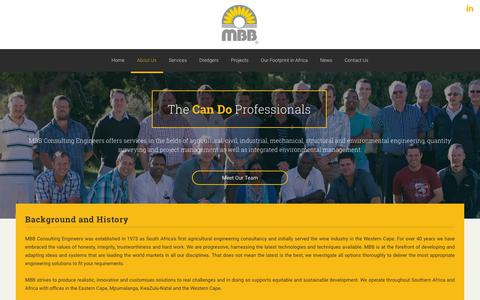 Screenshot of About Page mbb.co.za - Our History – MBB Consulting Engineers - captured Oct. 1, 2018
