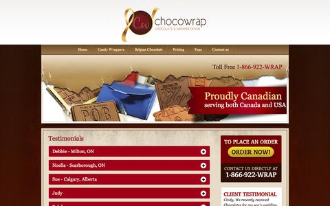 Screenshot of Testimonials Page chocowrap.com - Chocowrap - captured Jan. 27, 2016