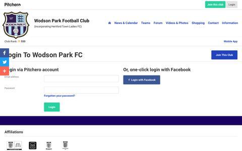 Screenshot of Login Page pitchero.com - Wodson Park FC - captured Sept. 21, 2018