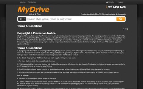 Screenshot of Terms Page mydrivemusic.com - Terms and Conditions - MyDrive Online - captured Oct. 6, 2014