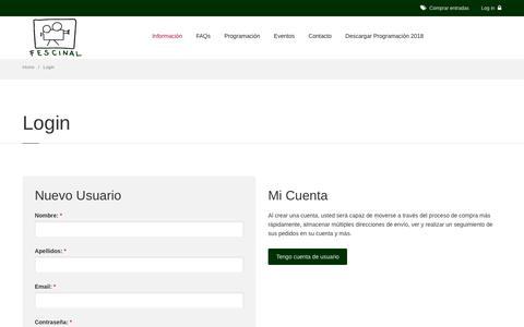 Screenshot of Login Page cineverano.es - Cine de Verano Madrid || Fescinal - captured Sept. 24, 2018