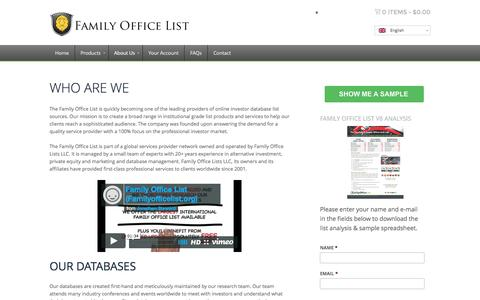 Screenshot of About Page familyofficelist.org - ABOUT FAMILY OFFICE LIST - captured Aug. 3, 2016