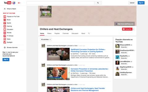 Screenshot of YouTube Page youtube.com - Chillers and Heat Exchangers  - YouTube - captured Nov. 5, 2014