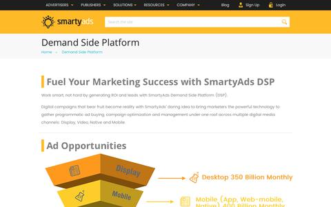 Screenshot of smartyads.com - Demand Side Platform | Self-Serve DSP | SmartyAds - captured May 31, 2017