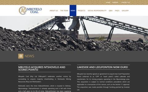 Screenshot of Press Page mbuyelocoal.com - News on Coal Mining | Mining News - captured July 22, 2016