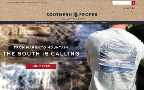 Screenshot of Home Page southernproper.com - Southern Proper | Clothing, Shirts, Shorts, Pants & Hats for the Gent - captured Oct. 15, 2018