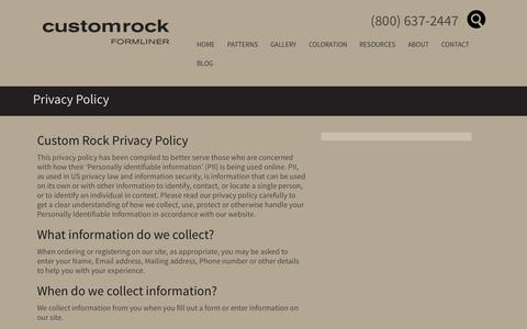 Screenshot of Privacy Page customrock.com - Privacy Policy - Custom Rock The Leader in Architectural Form Liners - captured Nov. 2, 2014