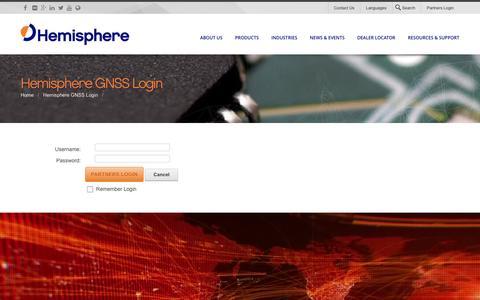 Screenshot of Login Page hemispheregnss.com - Login - captured Dec. 9, 2015