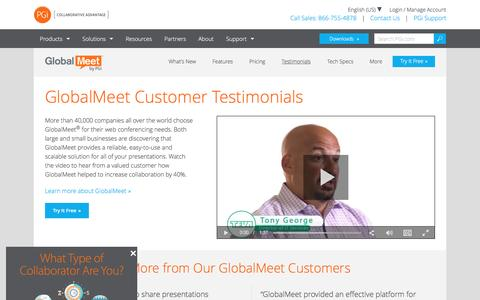 Screenshot of Testimonials Page pgi.com - GlobalMeet Customer Testimonials & Reviews | PGi - captured Dec. 3, 2016
